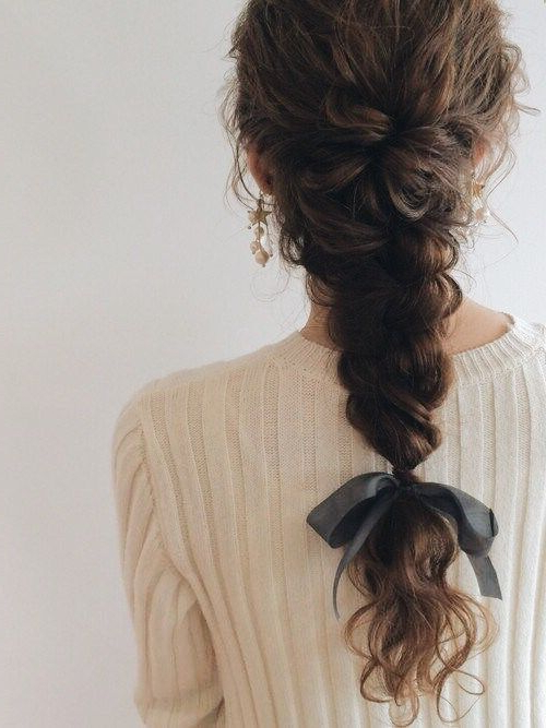 Loose Fishtail Braid #aveda Ibw | Classic In 2019 | Curly In Most Recent Messy Curly Mermaid Braid Hairstyles (View 5 of 25)
