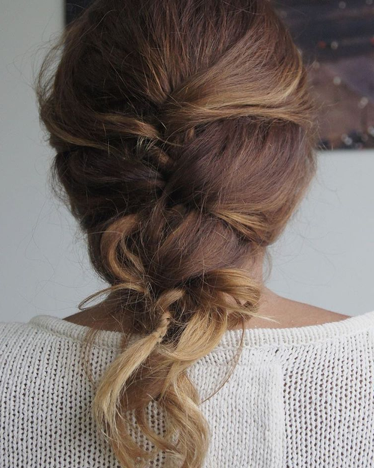 Mermaid Curly Hairstyle #braids #hairstyle | Fish Tail Throughout Most Current Messy Curly Mermaid Braid Hairstyles (View 4 of 25)