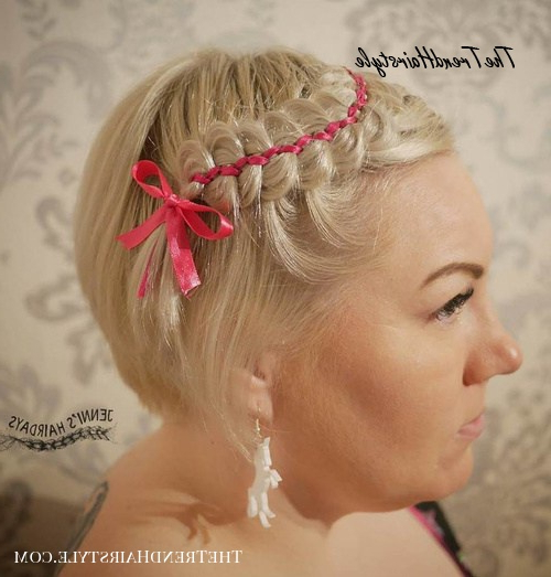 Messy Braided Crown – 39 Bold And Beautiful Braided Bang Within Most Current Braid Hairstyles With Braiding Bangs (View 18 of 25)