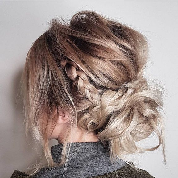 Featured Photo of Messy Crown Braid Updo Hairstyles