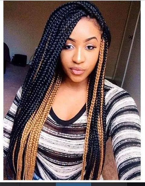 Mixed Color Box Braids | Afro Hair Styles / Protectives For Most Recent Black Twists Hairstyles With Red And Yellow Peekaboos (View 4 of 25)