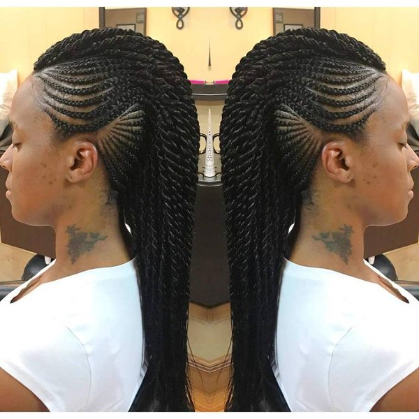 Mohawk Braid Hairstyles, Black Braided Mohawk Hairstyles Regarding Best And Newest Mohawk Braided Hairstyles With Beads (View 3 of 25)