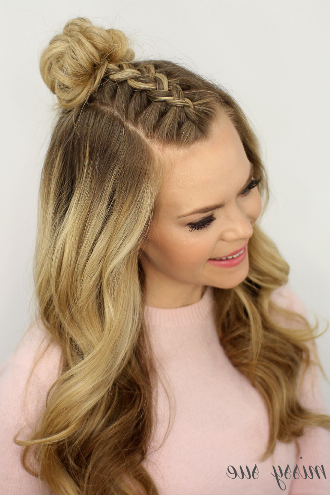 Mohawk Braid Top Knot Regarding Recent Half Up Top Knot Braid Hairstyles (View 7 of 25)