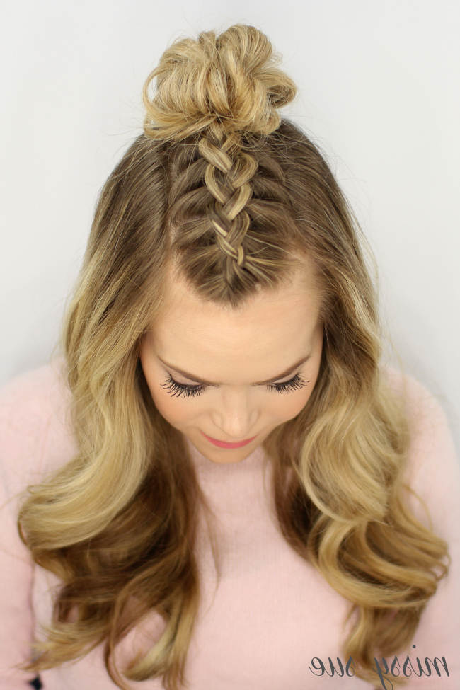 Mohawk Braid Top Knot Throughout Most Recently Topknot Ponytail Braided Hairstyles (View 13 of 25)