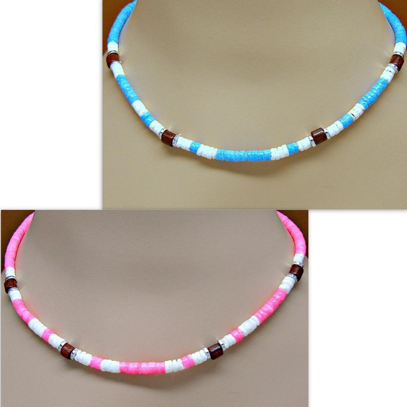 Necklace Pink Or Turquoise And White Puka Shell Wood Beads Hawaiian Sea Shells Surfer Sup 18 Inches 7011 with Most Popular Puka Shell Beaded Braided Hairstyles