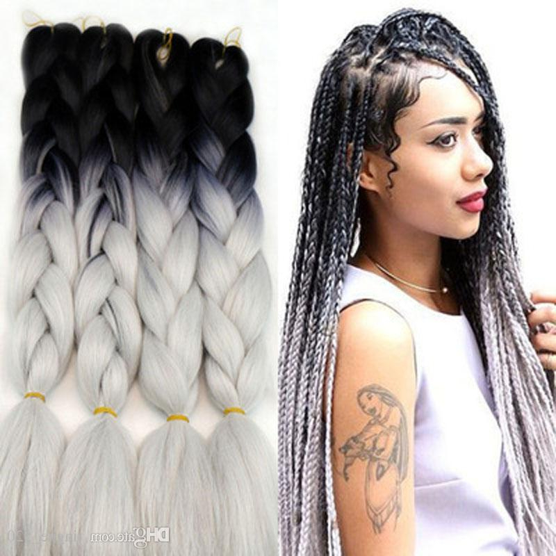 Ombre Braiding Hair Extensions Synthetic Two Tone Hair Color Ombre Box Braids Hair Bulks High Temperature Fiber throughout Newest Two Ombre Under Braid Hairstyles
