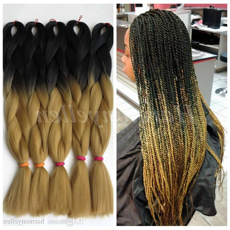Ombre Kanekalon Braiding Hair 24 100G Synthetic Braiding Hair Two Tone Black To Light Brown Marley Kanekalon Jumbo Braid For Box Braid intended for Most Recent Light Brown Braid Hairstyles