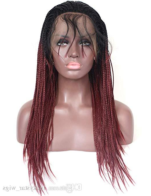 Ombre Wine Red Micro Braided Lace Front Wigs Dark Roots Burgundy Synthetic Heat Resistant Hair Braiding Styles Wig For Black Women 18Inches Throughout Current Red And Brown Micro Braid Hairstyles (View 19 of 25)