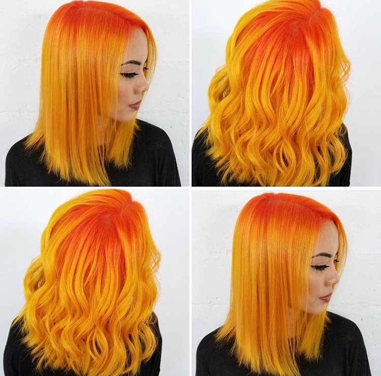 Orange And Yellow Hair | Yellow & Orange Hair In 2019 | Hair intended for 2018 Red, Orange And Yellow Half Updo Hairstyles