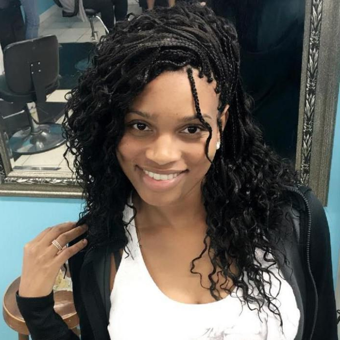 Featured Photo of Side Swept Twists Micro Braids With Beads