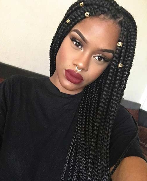 Featured Photo of Kanekalon Braids With Golden Beads