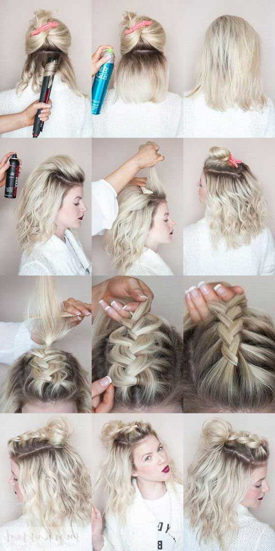 Pin On Hair Inspirations Within Latest Rolled Half Updo Bob Braid Hairstyles (View 18 of 25)