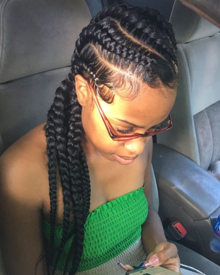 Pin On Hair Regarding Most Popular Skinny Curvy Cornrow Braided Hairstyles (View 4 of 25)
