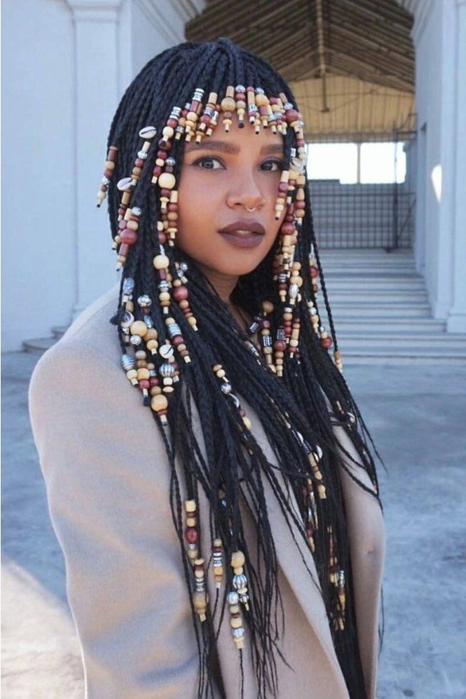 Pin On Natural Hairspiration Intended For 2018 Box Braids And Beads Hairstyles (View 10 of 25)