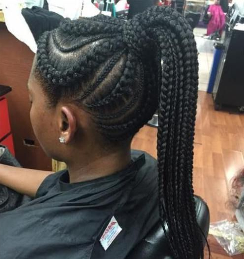 Pin On Satterfield Regarding Most Popular Ponytail Braid Hairstyles With Thin And Thick Cornrows (View 8 of 25)