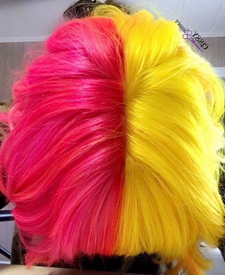 Pink And Yellow Half And Half Hair Using Z Good Dye Young In 2018 Red, Orange And Yellow Half Updo Hairstyles (View 20 of 25)
