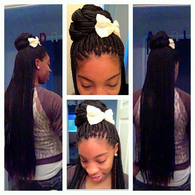 Pinliv Lee On Braided Hair Styles | Hair, Box Braids With Current High Half Up Bun Invisible Braids (View 12 of 25)