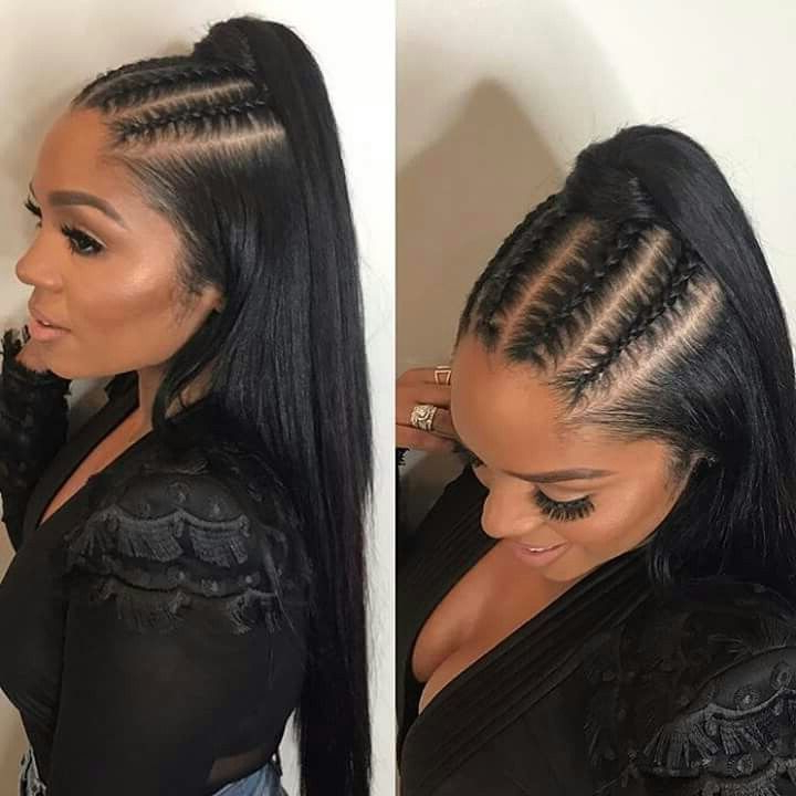 Pinmena Mena On Hair Variety In 2019 | Ponytail pertaining to 2018 Spiral Under Braid Hairstyles With A Straight Ponytail