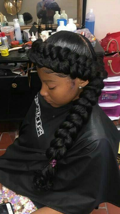 Pinmonique Dandridge On Hairstyles | Kids Braided For Most Up To Date No Pin Halo Braided Hairstyles (View 4 of 25)