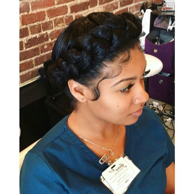 Pinterest: @kekedanae20 | Natural Hair | Protective Intended For Most Up To Date Traditional Halo Braided Hairstyles With Flowers (View 3 of 25)
