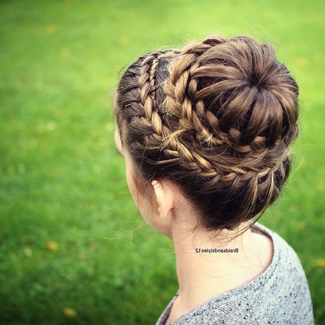 Princess Bun Hairstyle , Crown Braid Princess Hairstyles For Latest Double Crown Updo Braided Hairstyles (View 12 of 25)