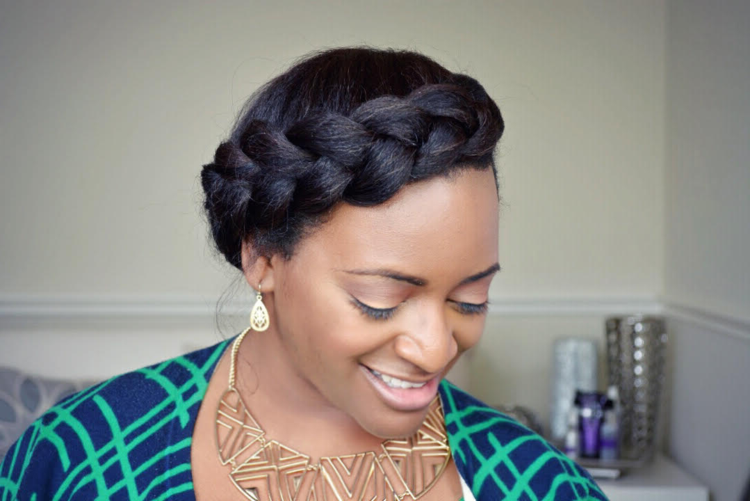 Quick & Easy Crown Braid Tutorial For Natural Hair Within Latest Black Crown Under Braid Hairstyles (View 3 of 25)