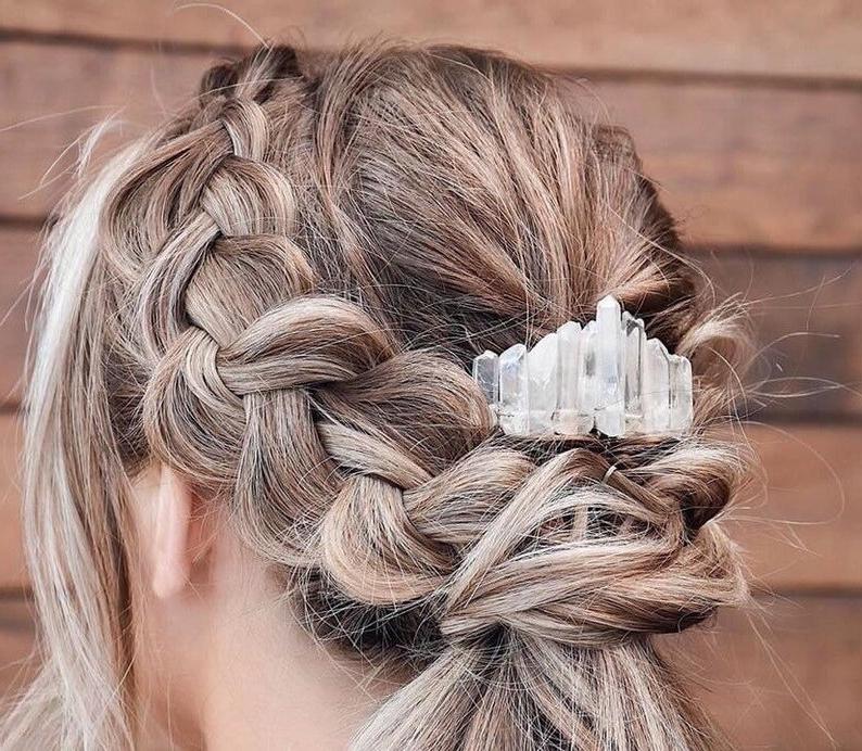 Rainbow Angel Aura Raw Crystal Hair Comb,clear Crystal Hair Comb,bridesmaid Hair Comb,mermaid Crown,braid Jewelry,beach Wedding,quartz Comb With Regard To 2018 Mermaid Crown Braid Hairstyles (View 8 of 25)