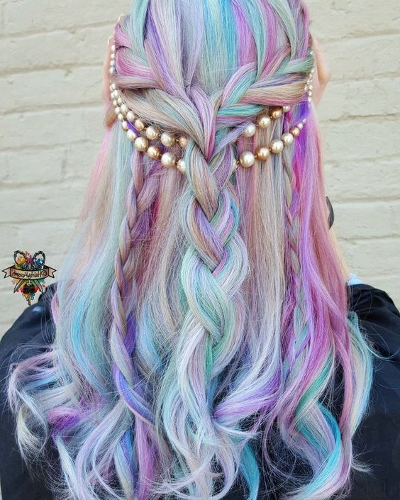 Rainbow Hair Pastel | Unicorn | Cotton Candy | Long Pertaining To Newest Cotton Candy Colors Blend Mermaid Braid Hairstyles (View 2 of 25)