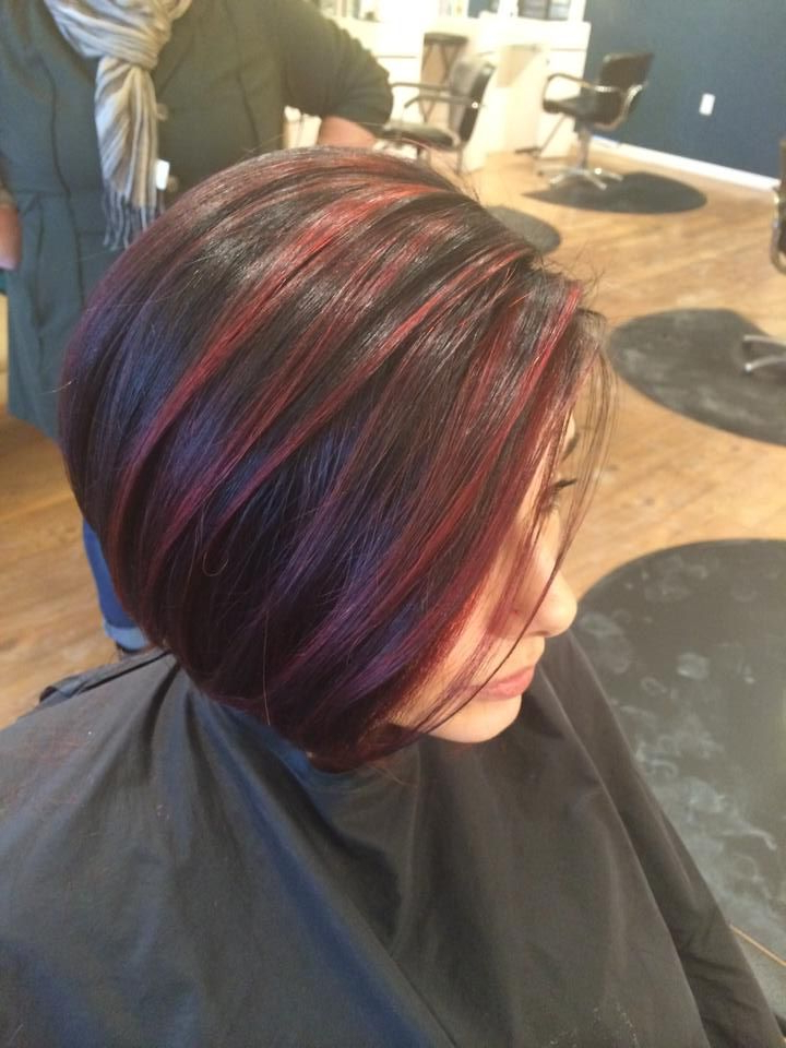 Red Highlights, Balayage, Color Melt, Red Highlights On Dark Intended For Most Recent Black Twists Hairstyles With Red And Yellow Peekaboos (View 7 of 25)
