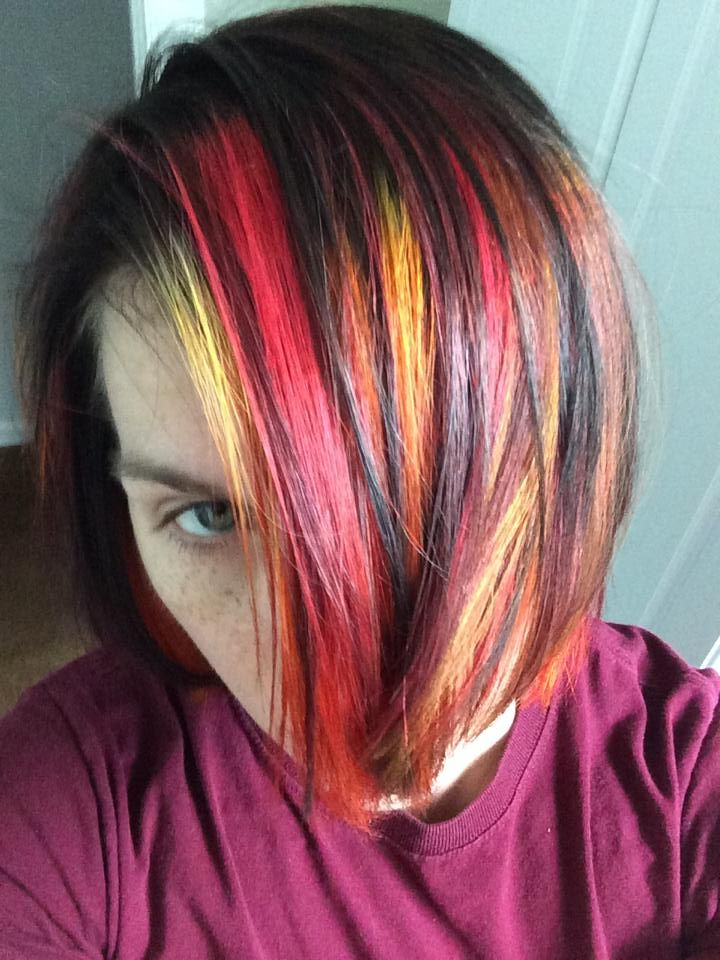 Red, Orange, And Yellow Streaks In Dark Brown Hair – Fall In Newest Black Twists Hairstyles With Red And Yellow Peekaboos (View 5 of 25)