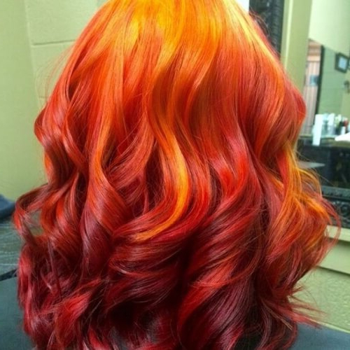 Reveal Your Fiery Nature With These 50 Red Ombre Hair Ideas In Most Up To Date Red, Orange And Yellow Half Updo Hairstyles (View 6 of 25)