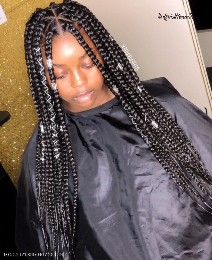 Scarlet Triangle Box Braids With Wrapping Detail – 20 In Latest Wrap Around Triangular Braided Hairstyles (View 6 of 25)