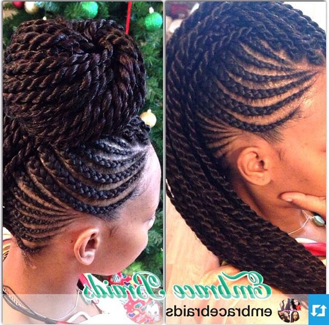 Senegalese Twists In A Mohawk   Hair Inspiration In 2019 Throughout Most Popular Crochet Mohawk Twists Micro Braid Hairstyles (View 10 of 25)