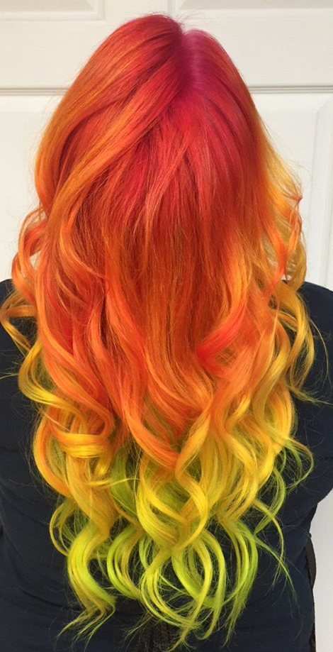 Shades Of Red! Purple, Red Orange Roots And Yellow Tips Within Most Recent Red, Orange And Yellow Half Updo Hairstyles (View 5 of 25)