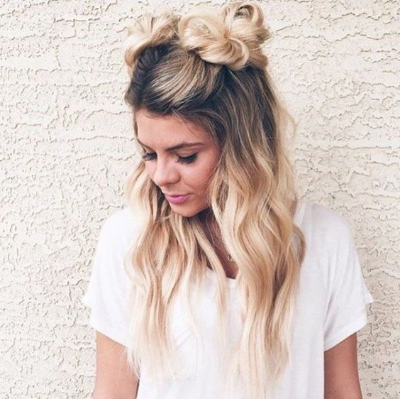 She's So Cute! | Double Braid Bun, Space Bun, Alien Buns Inside Most Up To Date Half Up Top Knot Braid Hairstyles (View 18 of 25)