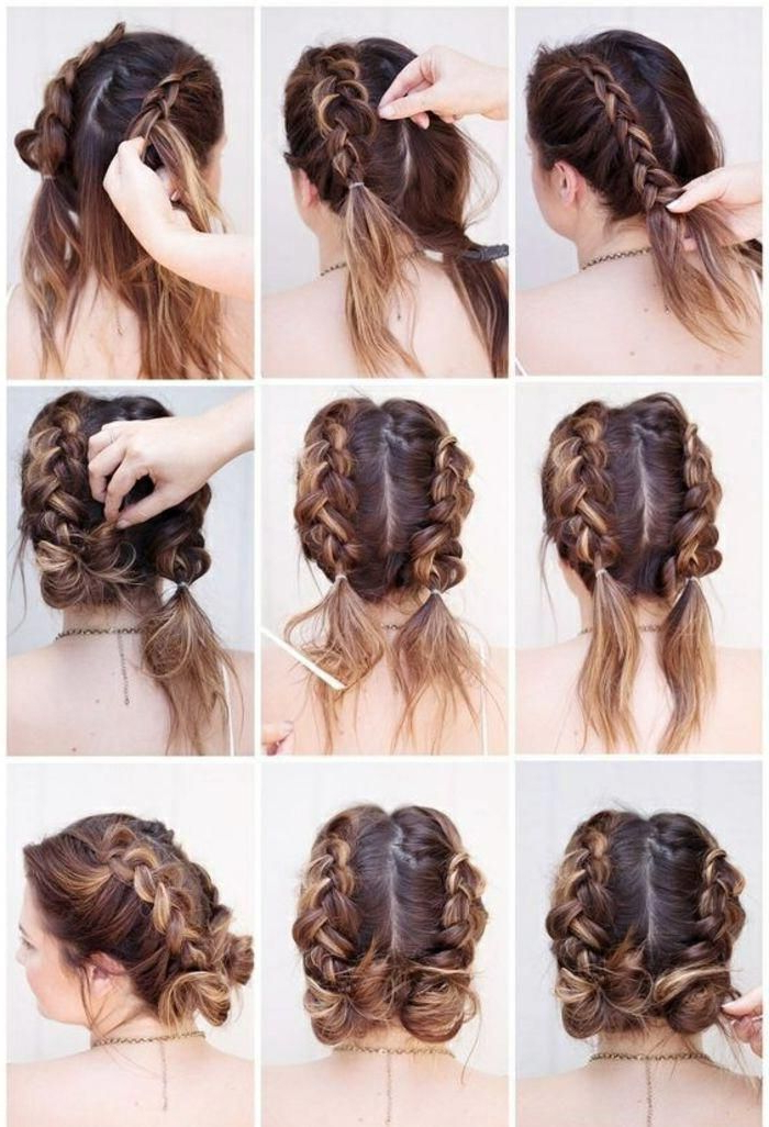 Short, Brown Hair, Pretty Updo, Braided Hairstyle #braided Pertaining To Recent Brown Woven Updo Braid Hairstyles (View 5 of 25)