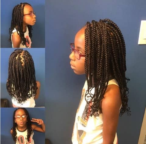 Side Parted Box Braided Hairstyle Within 2018 Side Parted Braid Hairstyles (View 18 of 25)