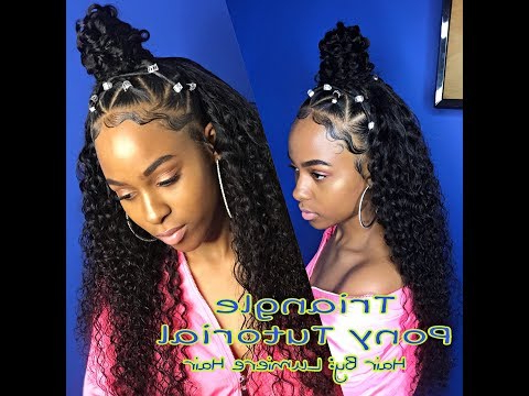 Small Triangle Ponytail Quick Weave | Lumiere Hair Tutorial Inside Current High Half Up Bun Invisible Braids (View 10 of 25)