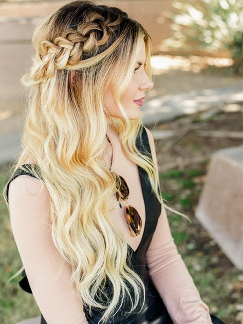 Spectacular Long Ombre Hairstyles With Braided Headband For Pertaining To Recent Braid Hairstyles With Headband (View 19 of 25)