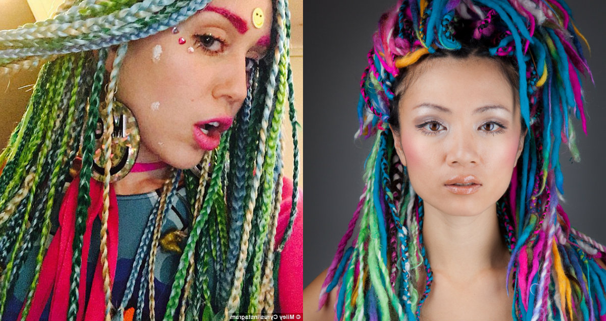 Striking Multi Colored Braids Hairstyles | Hairdrome Pertaining To Most Current Multicolored Extension Braid Hairstyles (View 10 of 25)