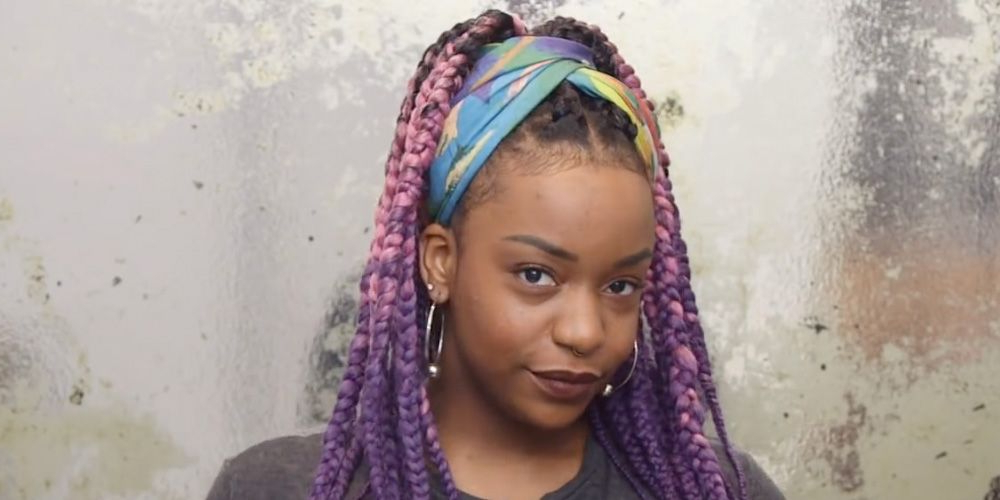 Styling Box Braids With A Scarf – 5 Ways To Add A Scarf To Regarding Most Up To Date Loose Twist Hairstyles With Hair Wrap (View 22 of 25)
