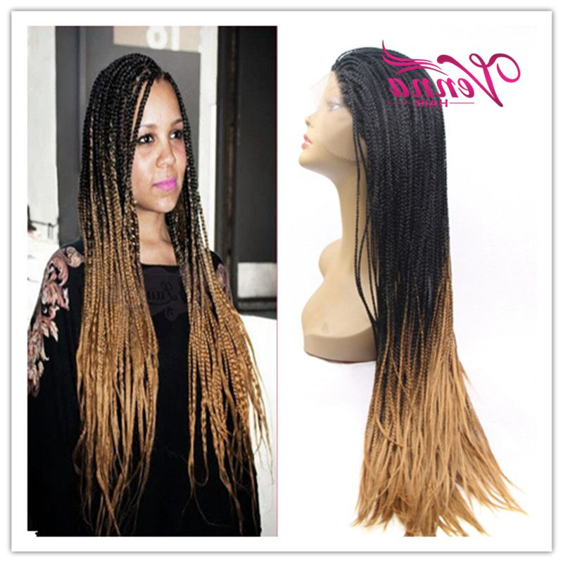 Synthetic African American Braided Wigs Long Two Tone Ombre Inside Current Two Ombre Under Braid Hairstyles (View 24 of 25)