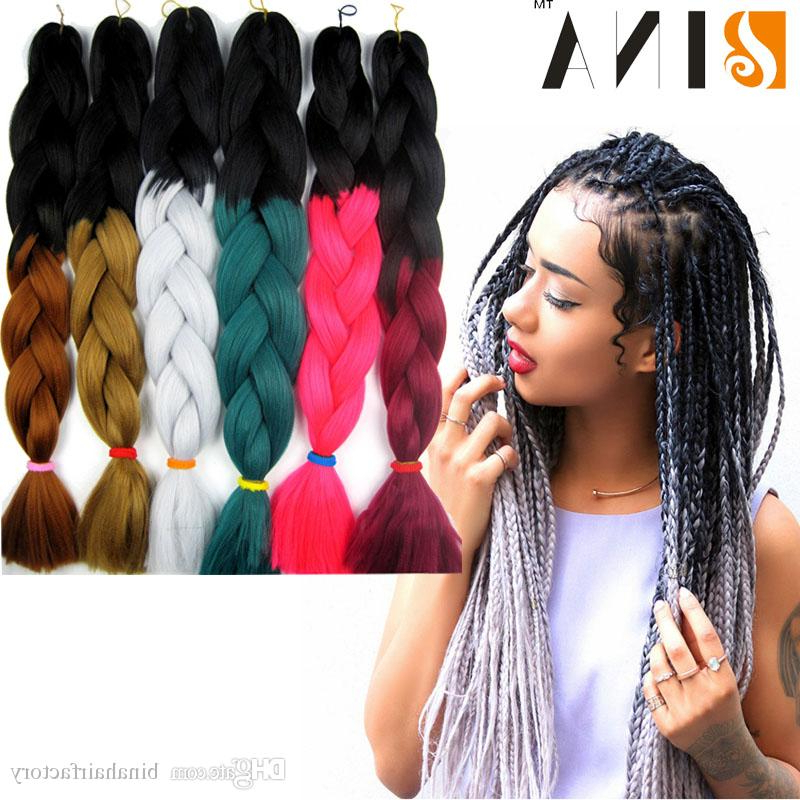 Synthetic Braiding Gray Hair Xpression 24Inches Two Tone Natural Bundle Crochet Ombre Jumbo Braiding Hair Cheap Factory Price Within Latest Two Ombre Under Braid Hairstyles (View 4 of 25)