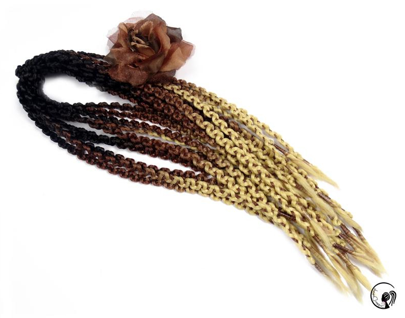 "Synthetic Braids Dreadlocks Dreads "" Golden Biscuits "" Double Ended Regarding Latest Kanekalon Braids With Golden Beads (View 24 of 25)"
