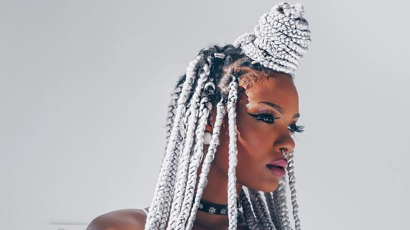 The Coolest Box Braids Hairstyles You Need To Try – The Regarding Recent Half Up Box Bob Braid Hairstyles (View 19 of 25)