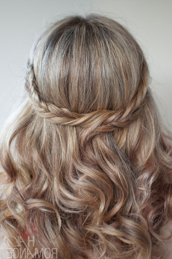The Romantic Soft Curly Fishtail Half Crown For Long Hair For Most Popular Medieval Crown Braided Hairstyles (View 14 of 25)