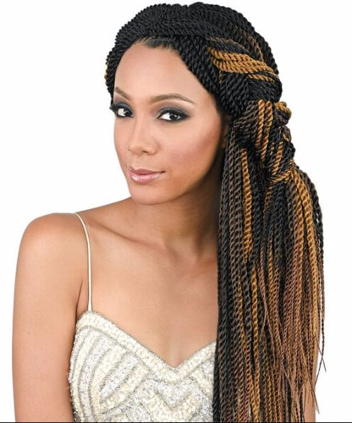 The Senegalese Twist: What It Is + 50 Superb Ways To Wear It Intended For Best And Newest Black And Brown Senegalese Twist Hairstyles (View 14 of 25)