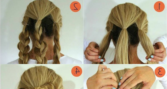 The Triple Braided Bun Hairstyle | Chikk Intended For Latest Triple Under Braid Hairstyles With A Bun (View 5 of 25)