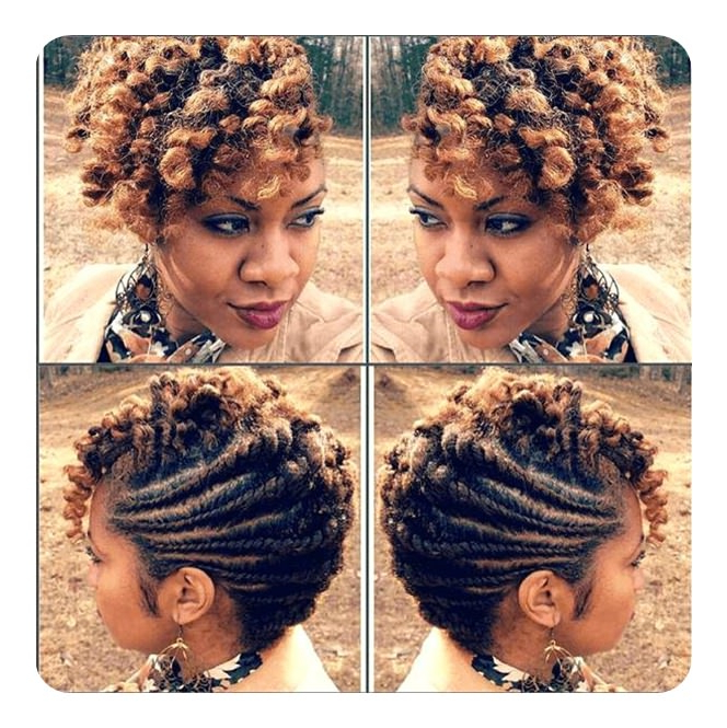 Tired Of Cornrows? 86 Coolest Flat Twist To Try This 2018! In Most Up To Date Pastel Colored Updo Hairstyles With Rope Twist (View 14 of 25)