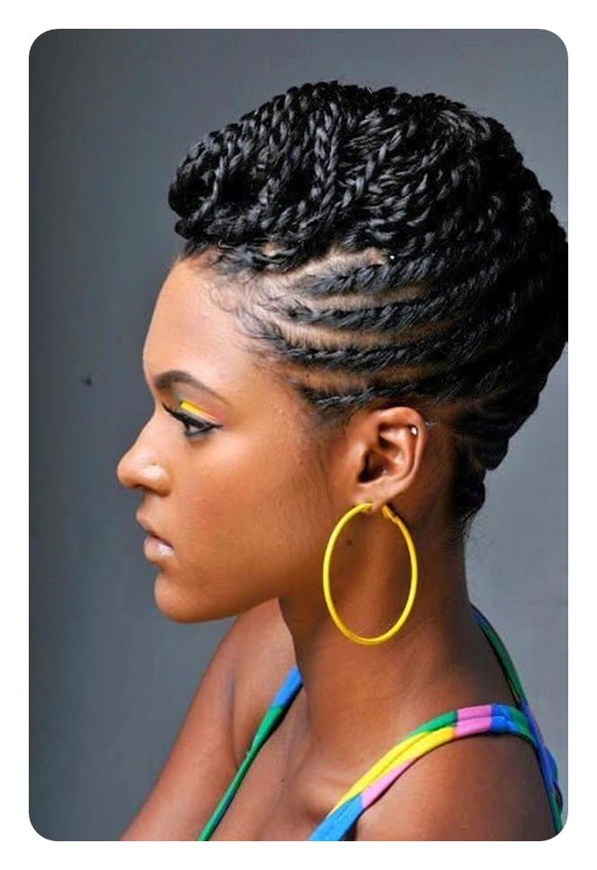 Tired Of Cornrows? 86 Coolest Flat Twist To Try This 2018! Inside Best And Newest Forward Braided Hairstyles With Hair Wrap (View 2 of 25)